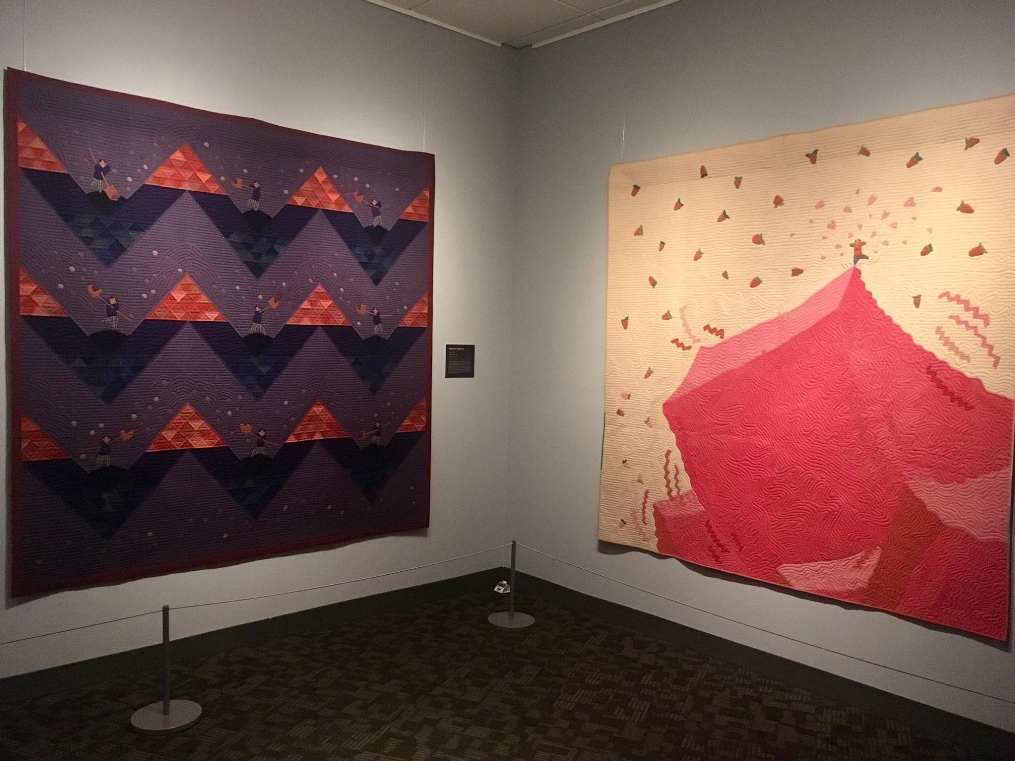 Two Rumi O'Brien quilts on display in a gallery.