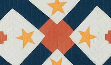 Madison Township Memorial of the World War quilt featuring red crosses, blue and yellow stars.