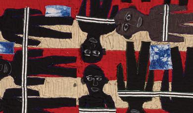 large quilt depicting Slave Ship Henrietta Marie