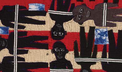 large quilt depicting Slave Ship Henrietta Marie